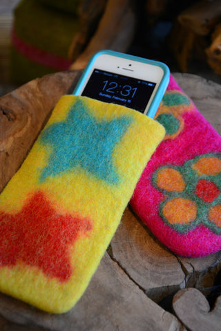 Felted Cell Phone Case/ Sunglass Case
