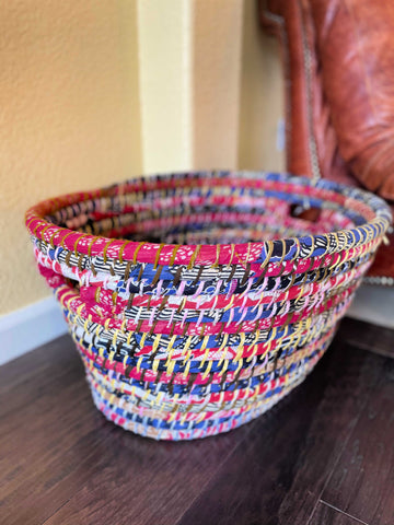 Recycled Sari Laundry Basket
