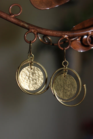 Fair Trade Brass Disc Swing Earrings