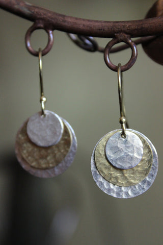 Hammered Mixed Metals Earrings