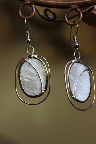 Cream and Silver Arched Capiz Earrings