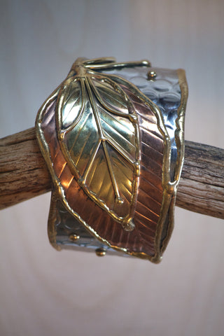 Copper Leaf Cuff Bracelet