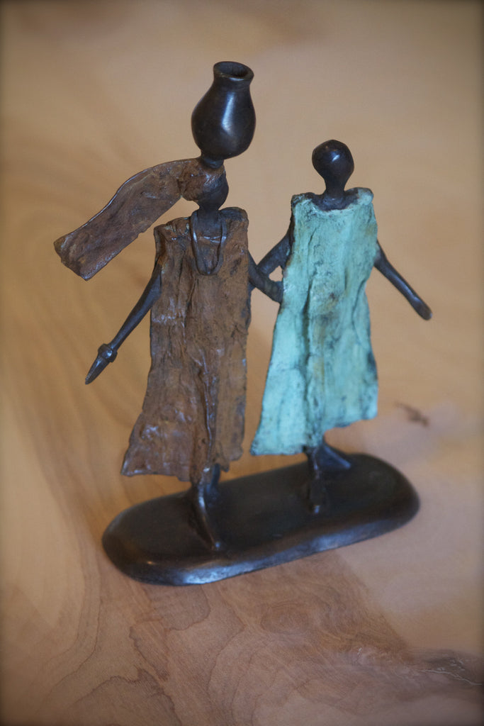 Walking Ladies Lost Wax Bronze Sculpture