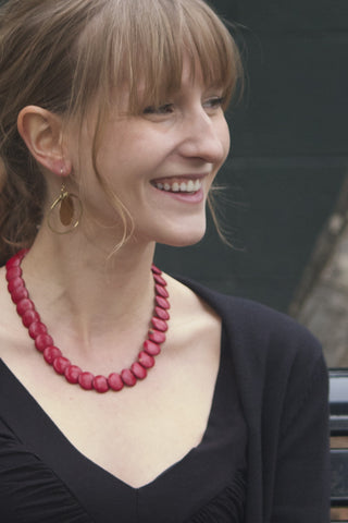 Red Flat Bead Necklace