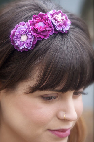 Arpilleras Flowers Headband or Ponytail Hairband