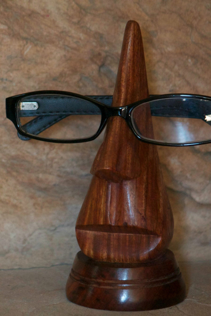 Carved Wood Eyeglass Holder