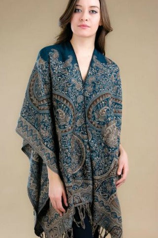 Jamevar Wool Poncho - Blue