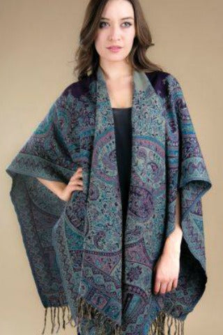 Jamevar Wool Poncho - Blue & Purple