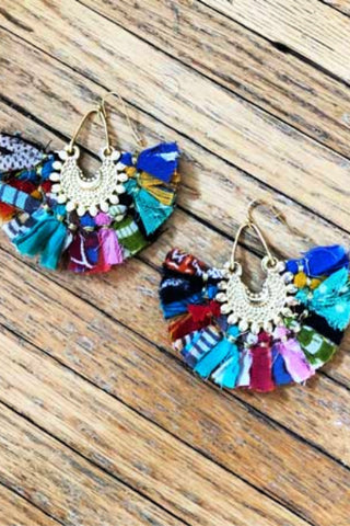 Kantha Fan Earrings