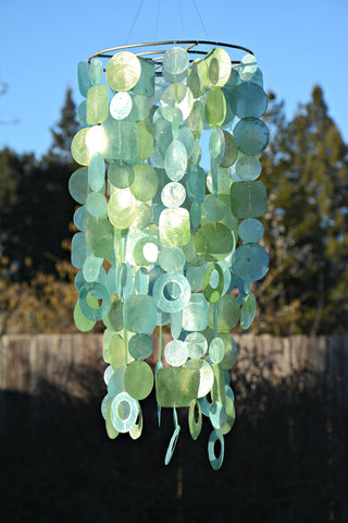 Large Blue & Green Capiz Wind Chime