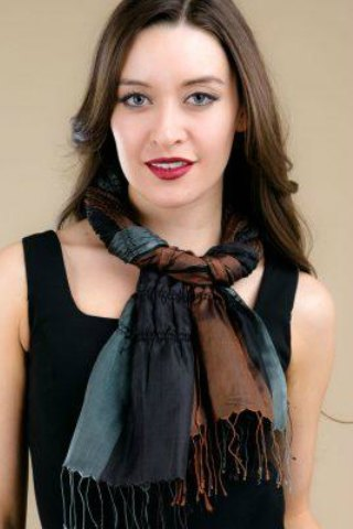 Lavani Silk Scarf Black, Gray & Copper