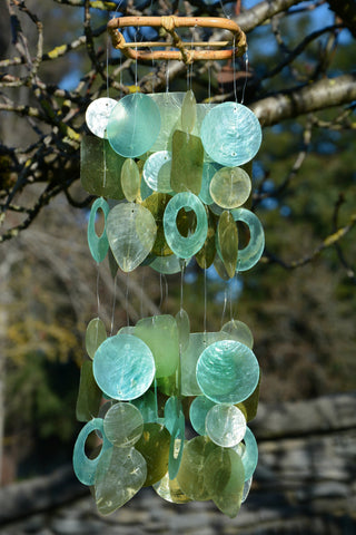 Olive Green Capiz Shell Wind Chime - Petite