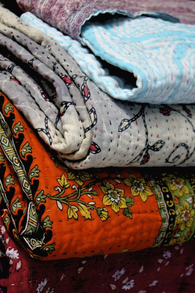 Kantha Quilted Sari Throws
