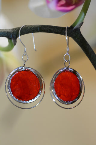 Radiant Red Capiz Earrings