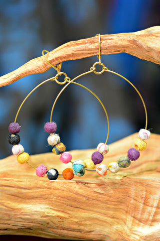 Reclaimed Sari Hoop Earrings