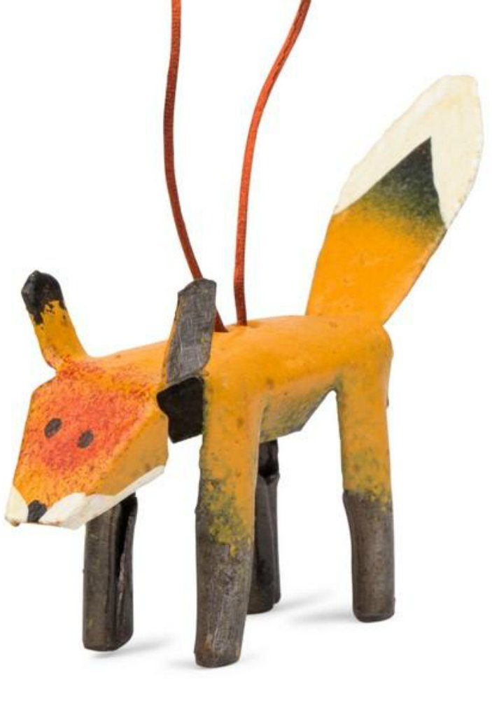Recycled Metal Fox Ornament