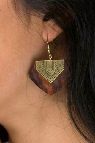 Rosewood and Brass Shield Earrings