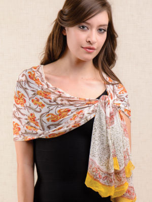 Hand Block-Printed Floral Chiffon Scarf