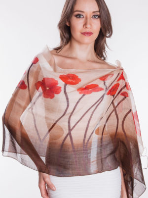 Fair Trade Poppy Silk and Cotton Scarf
