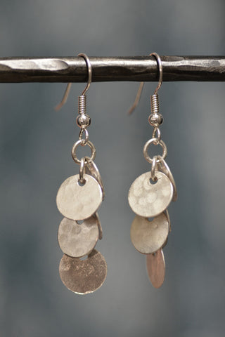 Silver Cluster Earrings