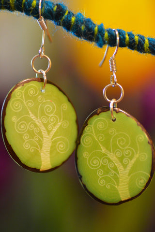 Tree of Life Tagua Nut Earrings