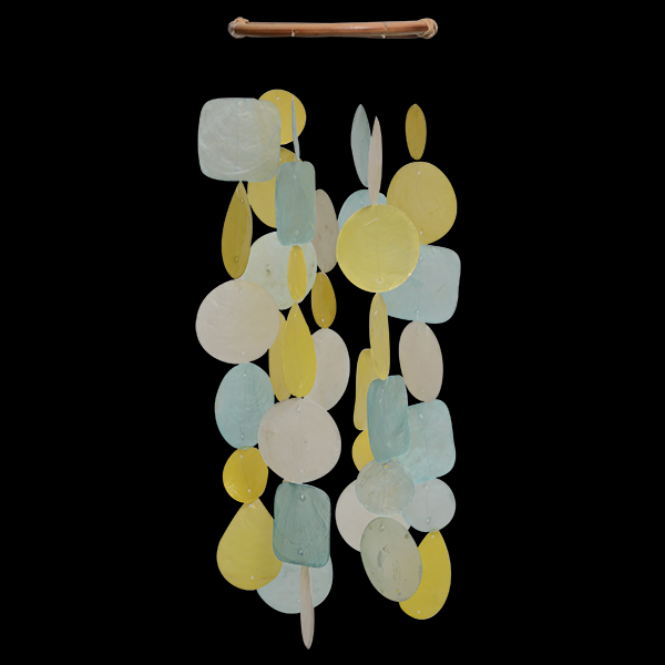 Aqua and Yellow Capiz Shell Wind Chime - Petite