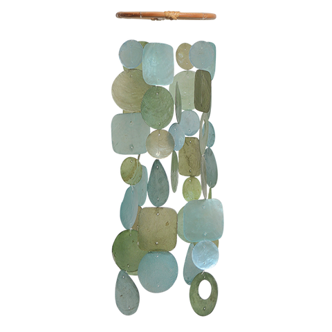 Fair Trade Teal Capiz Windchime - Petite