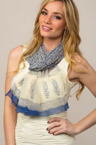 Blue and Cream Chiffon Scarf