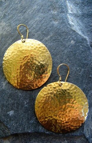 Pounded Brass Earrings