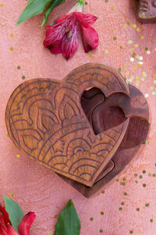 Rosewood Heart Puzzle Box