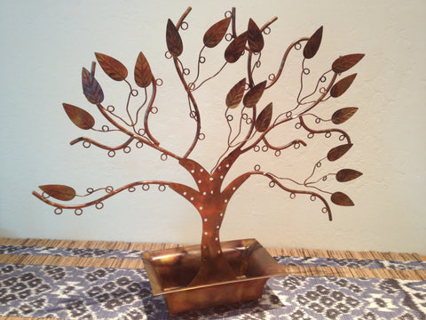 Copper and Recycled Iron Jewelry Tree