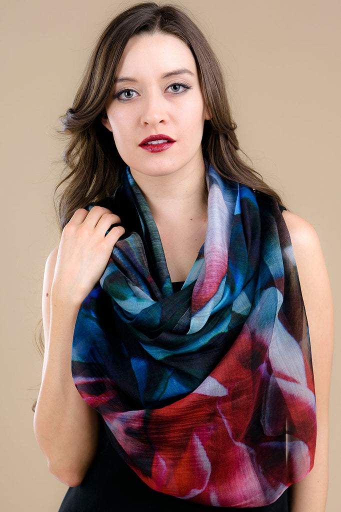 Blue and Red Silk and Cotton Scarf