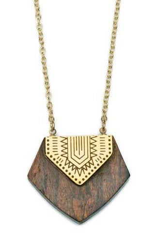 Rosewood and Brass Shield Necklace
