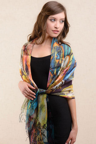 Vibrant Watercolor Silk & Cotton Scarf