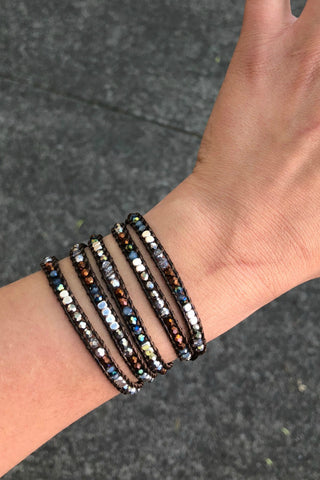 Thai Crystal Wrap Bracelet- Dark Sparkles