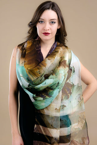 Turquoise and Brown Silk & Cotton Scarf