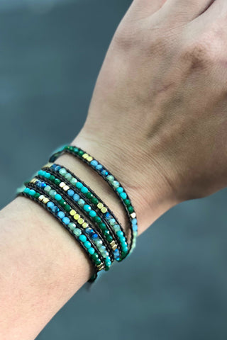 Thai Crystal Wrap Bracelet- Sea Greens