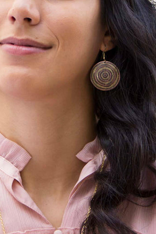 Brass and Copper Round Earrings
