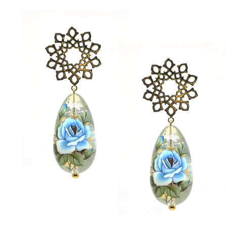 Arabesque Black Drop Earrings