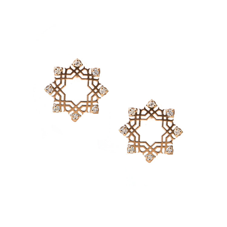 Star Arabesque Earrings (18k Rose Gold)