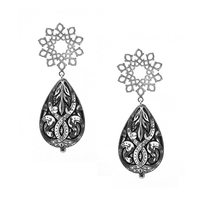 Arabesque Earrings with Intricate Black Design