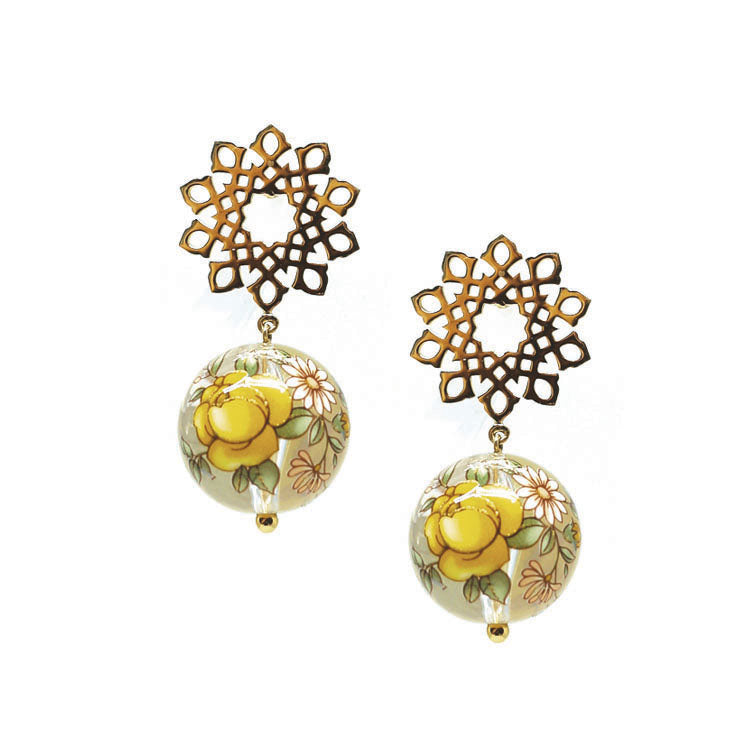 Arabesque Yellow Drop Earring