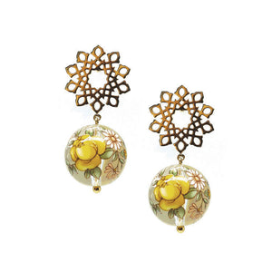 Arabesque Yellow Drop Earrings