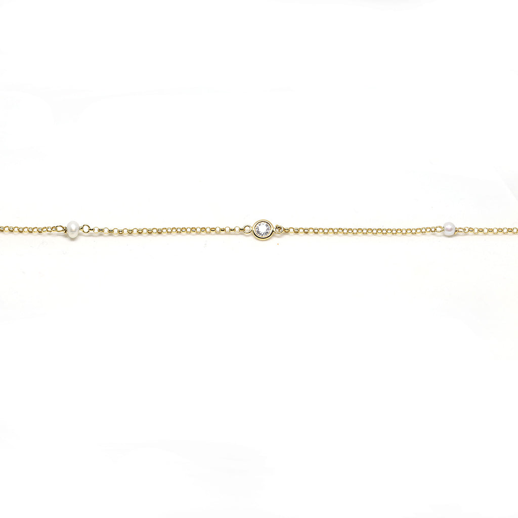 Pearl and Stone Anklet