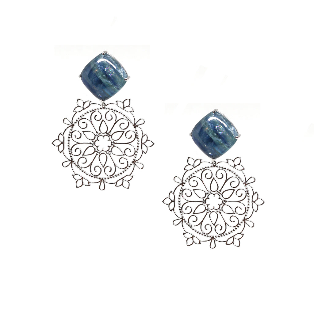 Mandala Earrings with Kyanite Stones