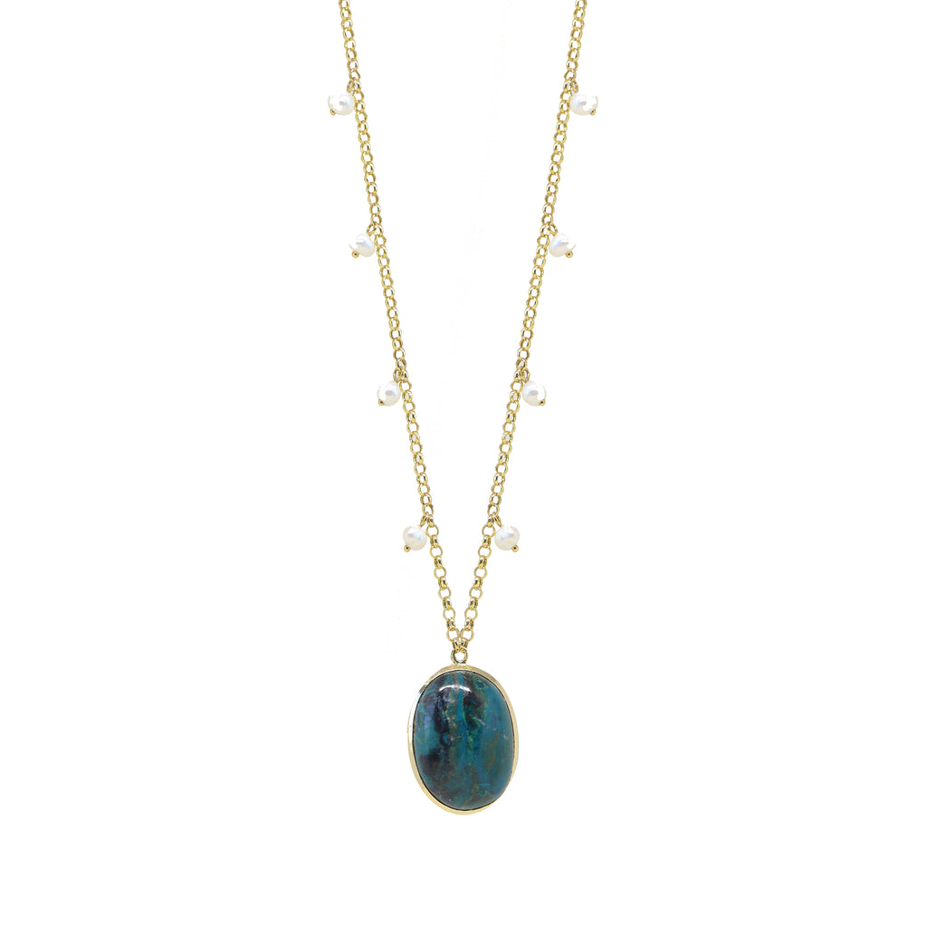 Chrysocolla Pearl Necklace