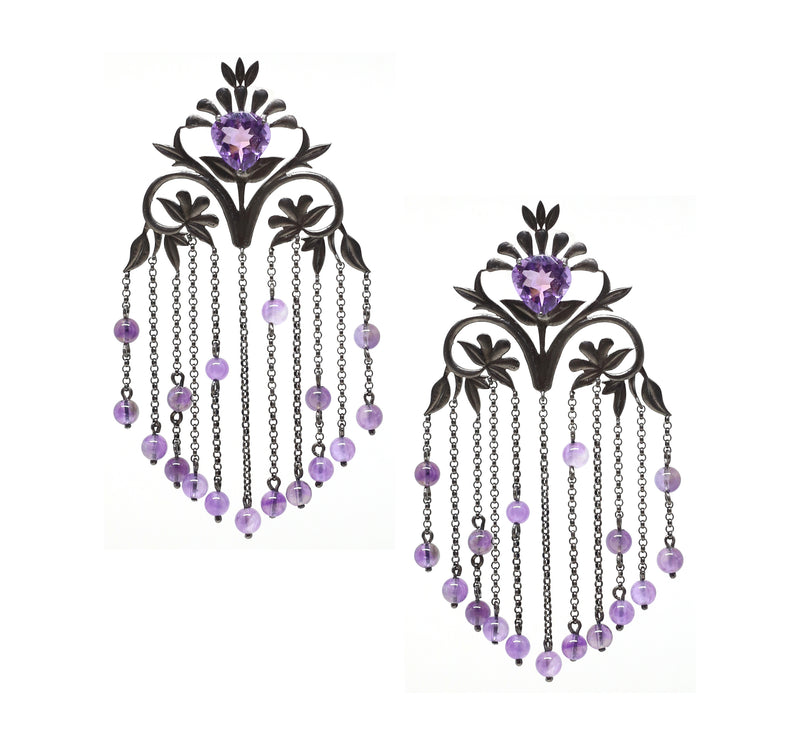 Amethyst Flora Chain Earrings