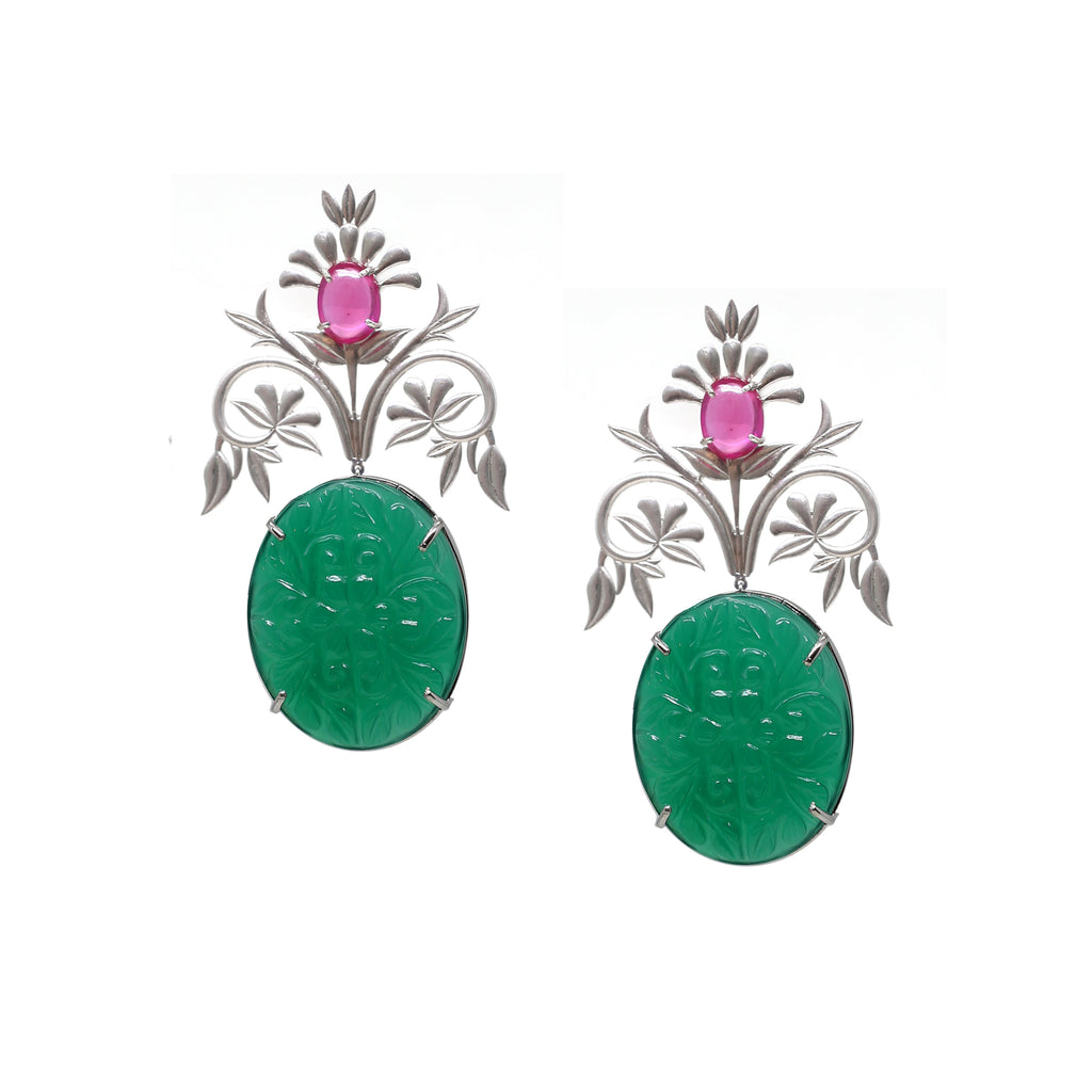 Green Flora Earrings
