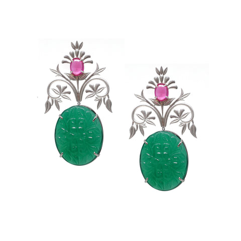 Petal Wreathe Green Onyx Earrings