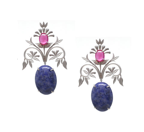 Tanzanite Leaf Drop Earrings